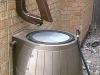 Installed Zip HInge over Rain Barrel
